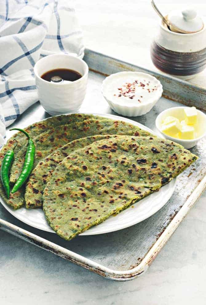 Cheesy Palak Paneer Paratha
