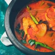 Alleppey fish curry served in a black Chetty