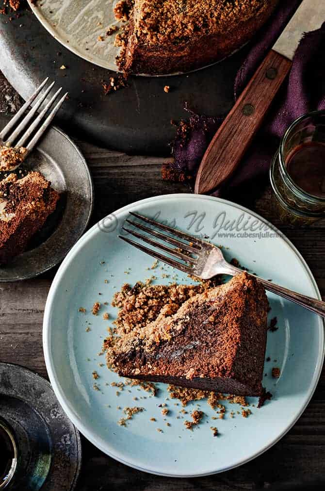 Whole Wheat Chocolate cake with Apricot Streusel