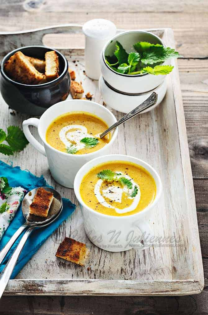 Carrot Soup with Lemon Balm
