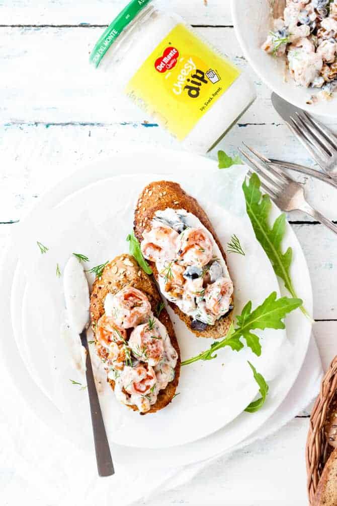 Shrimp Walnut Cheesy Dip Mayo Bruschetta