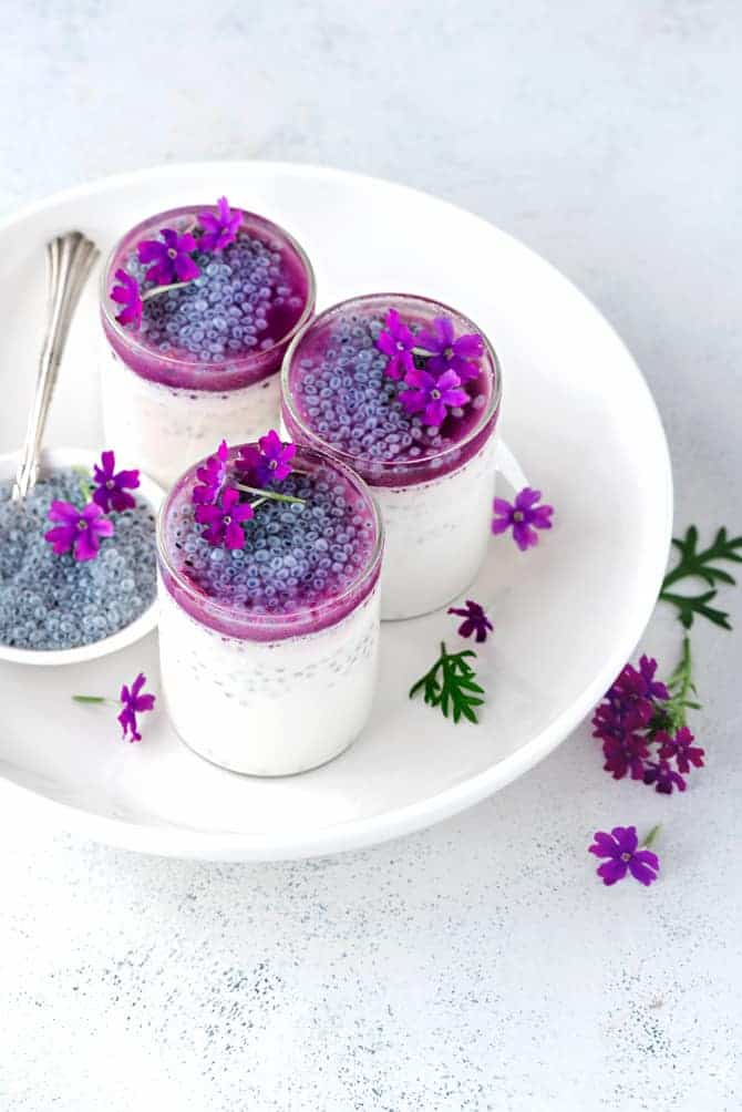 Lemongrass pannacotta with Basil seeds and Jamun Sauce