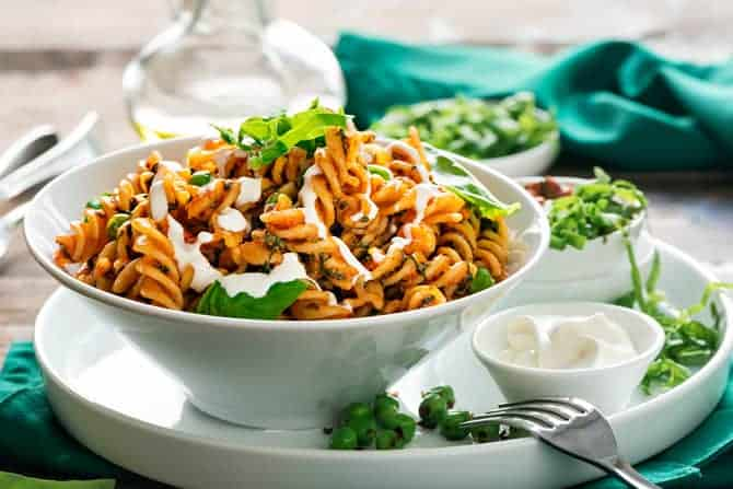 Fusilli with Spinach and Peas in Creamy Tomato Sauce