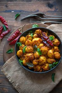 spicy baby potatoes recipe. Masala baby potato roast recipe.
