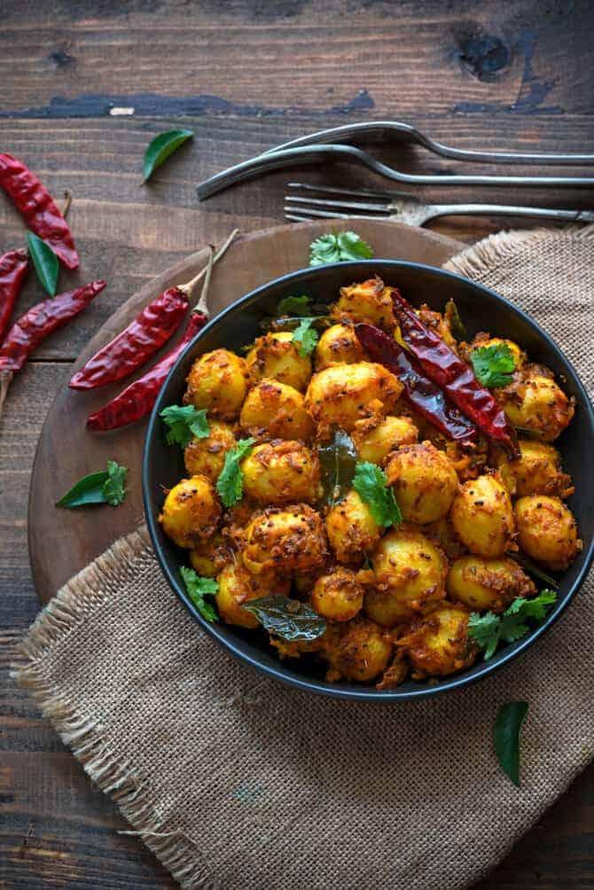 spicy baby potatoes recipe. Masala baby potato roast recipe.
