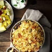 Veg Kashmiri Pulao recipe, Kashmiri veg pulao, pulao with fruits and nuts.