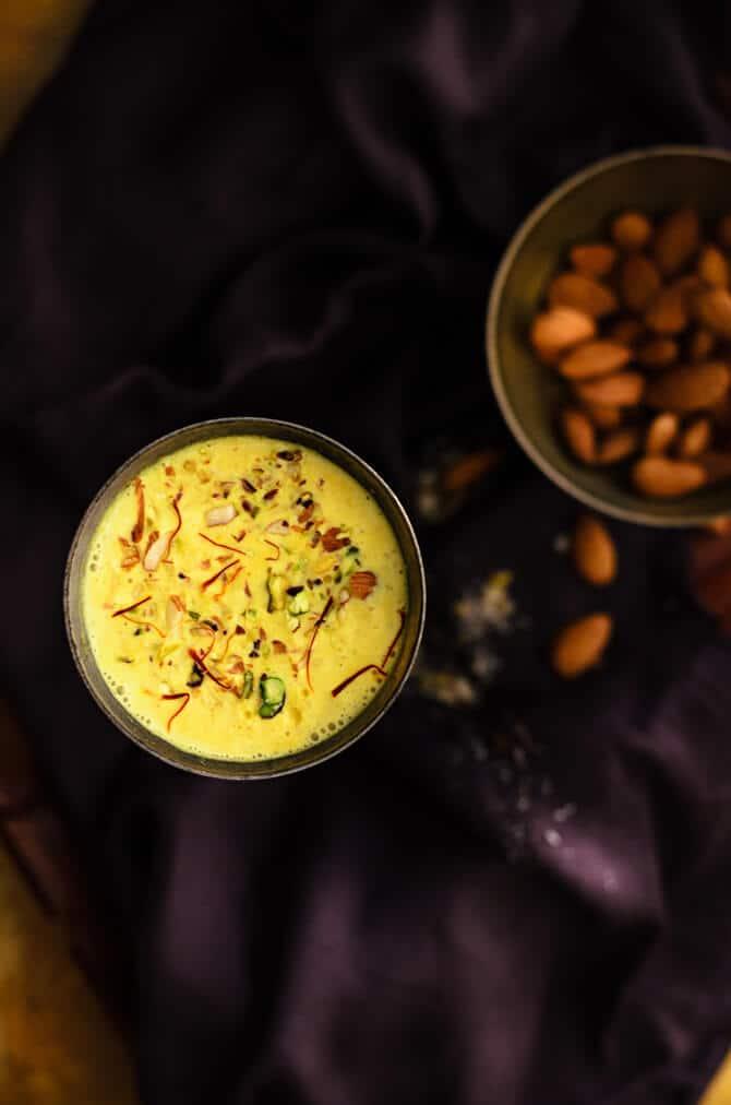Kesar Badam Milk recipe, Badam doodh, almond milk, saffron milk