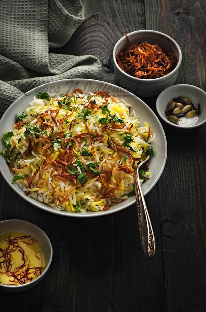 easy zafrani pulao recipe, saffron rice pilaf recipe