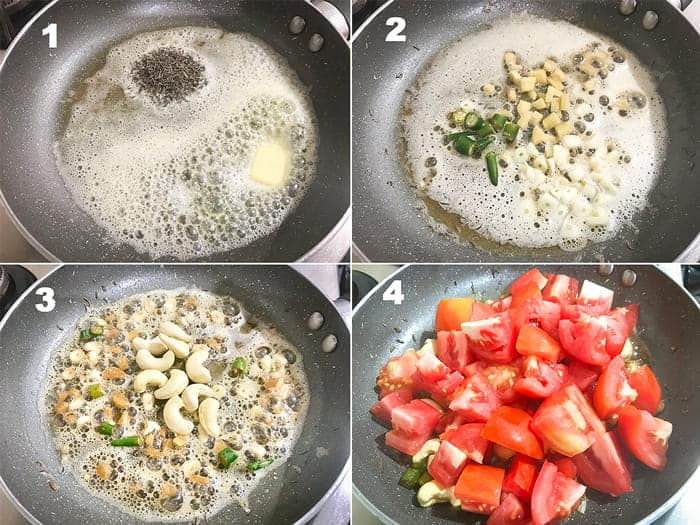 Step by step collage for the making paneer butter masala recipe