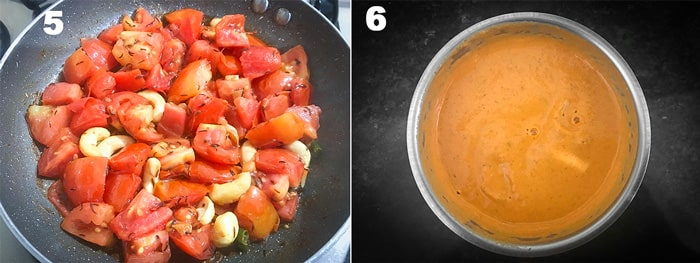 step by step collage for the making of tomato cashew paste for paneer butter masala recipe