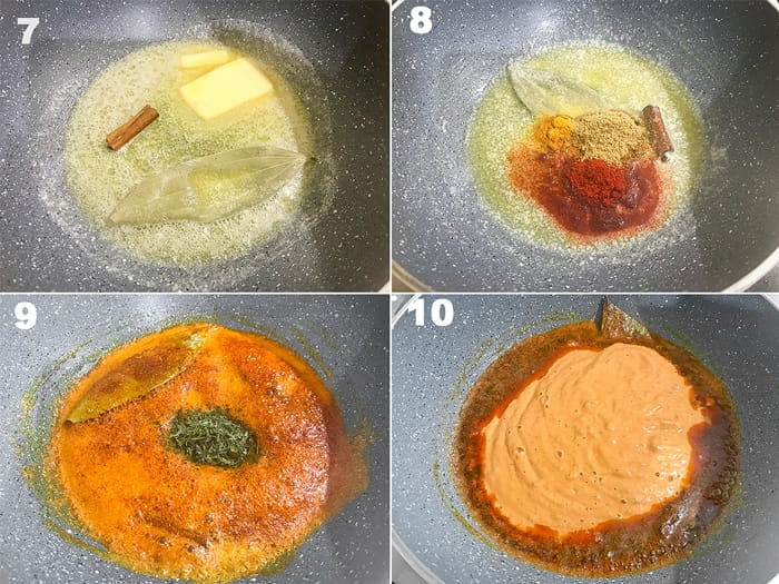 Step by step collage for the making of paneer butter masala recipe