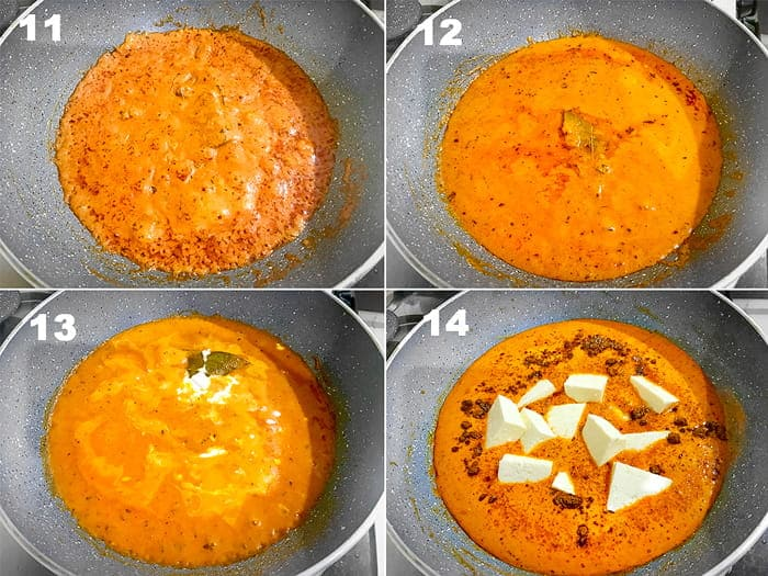 Step by Step picture collage of making of paneer butter masala gravy in pan on stove top.