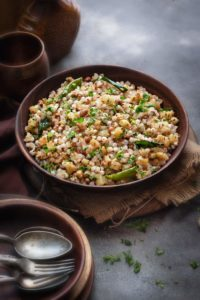 Spicy Sabudana Khichdi served in a large wooden bowl