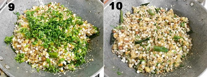 Step by Step collage of the process to make sabudana khichdi recipe.