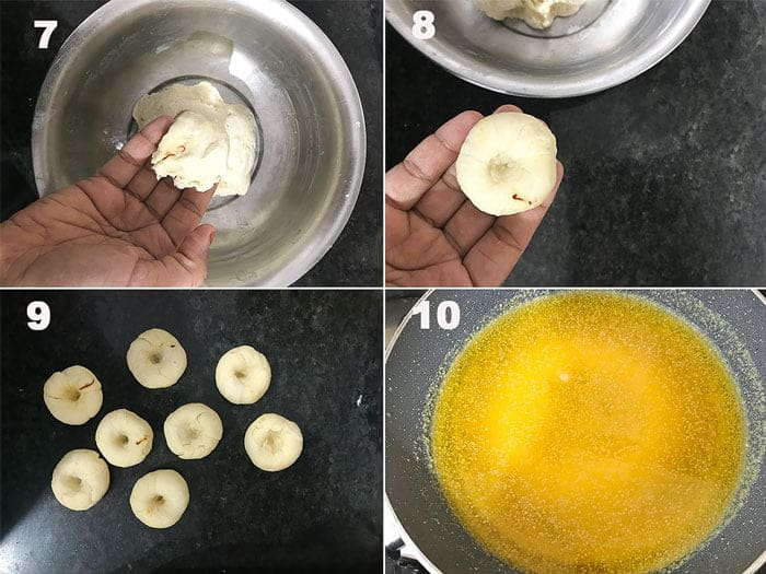 steps to make badusha dough balls