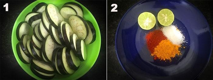 Preparations step to make begun bhaja (baingan fry)