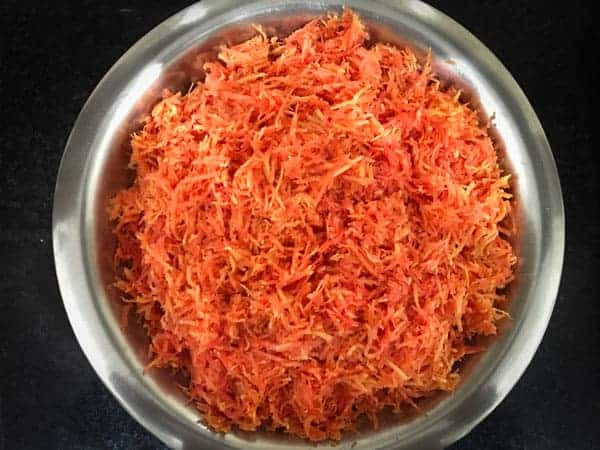 Grated Red carrots in a large bowl ready for the making of gajar ka halwa