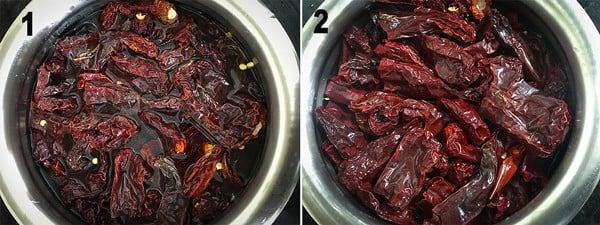 Hot water added over the dried chilies in a bowl for chili paste recipe