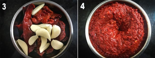 Soaked chilies added in a blender along with garlic and blended to a fine paste.