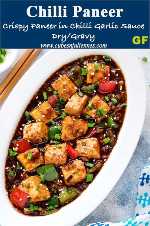 Chilli Paneer is a lip smacking restaurant style spicy Indo Chinese recipe of paneer sautéed with chillies, peppers and sauces. Serve it as a #Chinese paneer starters making #dry version or as a main course by making #gravy version of it. Swap paneer with tofu to make #vegan tofu chilli #recipe #Chinese #homemade #IndoChinese #paneer #chilli #starters