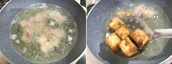 Frying the paneer cubes to make chilli paneer recipe.