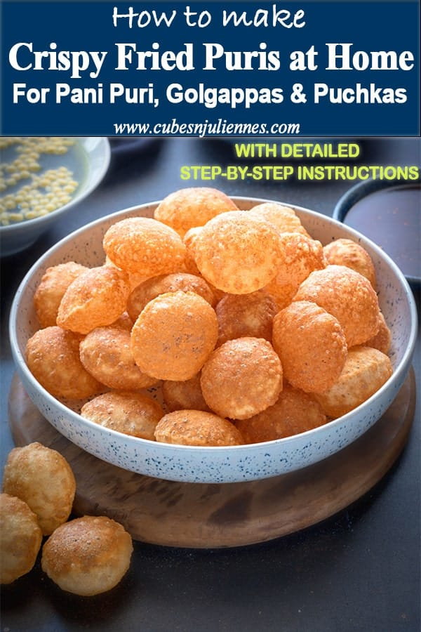 Here is how to make those perfect light, puffy and super crisp puri of atta golgappa at home.These puri for pani puri recipe or puchka, is afool proof, tried and tested recipe that I have been following for last 13 years. #Indian #Chaat #Puchka #Golgappa #Panipuri #streetfood
