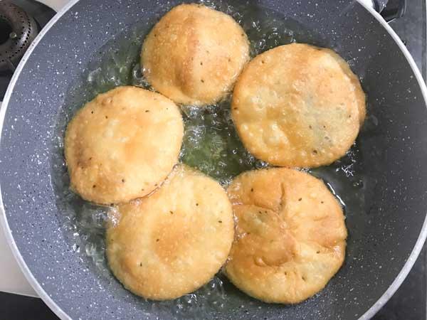 Matar Kachori fried to golden.