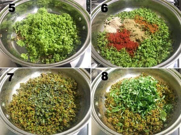 Step by step pictures for the making matar kachori stuffing.
