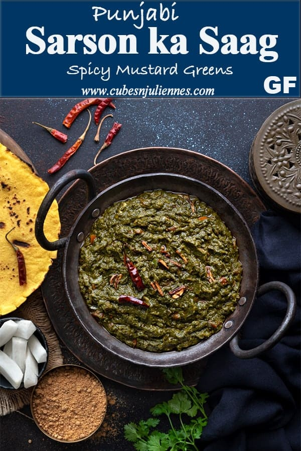 Sarson Ka Saag - Indeed a magical #winter dish! A traditional #Punjabi #Recipe of #Mustard leaves or#greenscooked in ghee, butter, with other leafy greens.Boiled and tossed with spices, makki ka atta and tempered with loads of garlic and red chilies. Served with makki ki roti, jaggery and butter. #howtomake #Curries #sarson