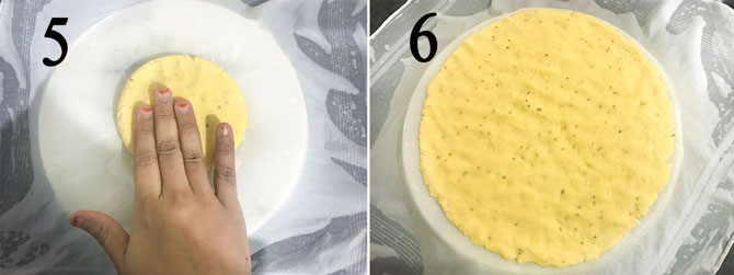 Shaping dough into roti using hands