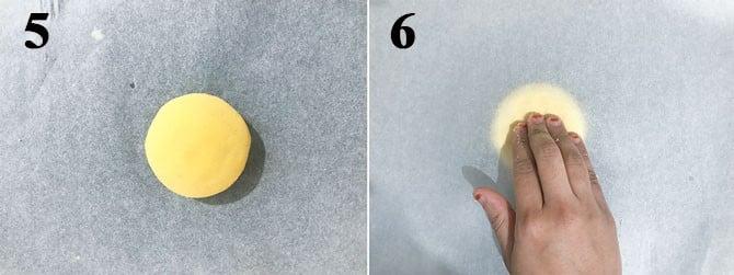 Makki ki roti dough ball placed between the two parchment paper