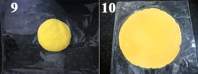 Makki dough ball placed between the two greased plastic sheet and rolled into disc