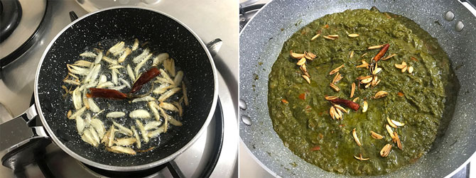 Prepared Tadka of garlic and red chilies in ghee poured over the sarson ka saag
