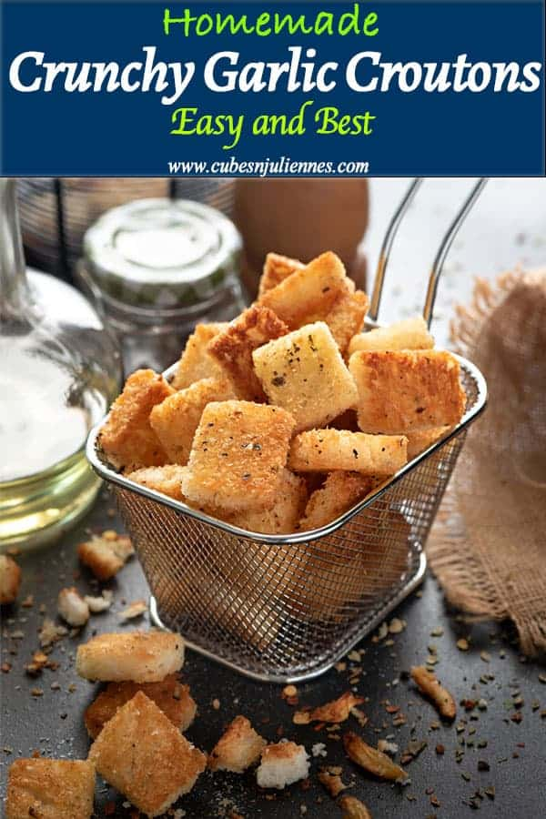 Baked Crunchy Garlic Croutons are super easy, crisp, easily customisable, stunningly Tasty recipe that is ready in flat 15 minutes. These croutons makes your soups and salads, an irresistible light supper perfect in winters! #homemade #baked #recipe #howtomake