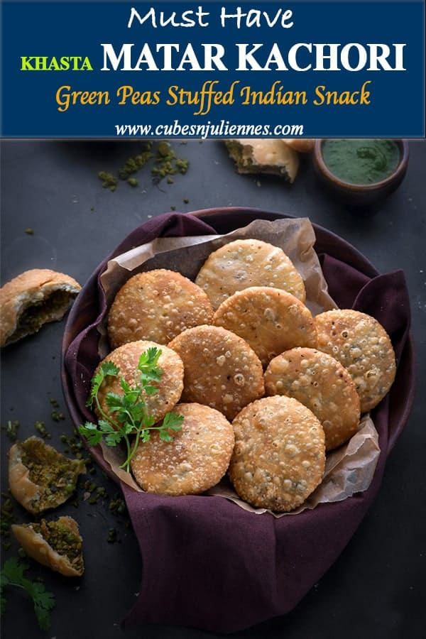 Matar Kachori  (Peas kachori) is delicious North Indian snack of crispy and flaky deep fried pastry stuffed with tangy, spicy #green peas filling. A true winter appetizer, a best companion with cup of hot masala chai. This khasta matar ki kachori has all the crunch and flavour to hit the right spots. #vegan #indian #streetfood #snacks #recipe