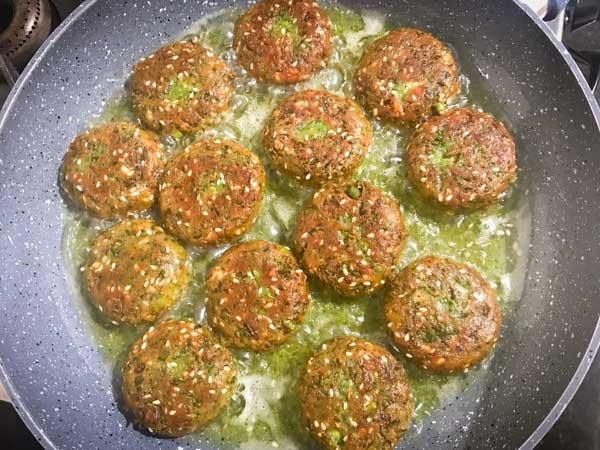 Matar paneer kabab frying in hot oil in pan