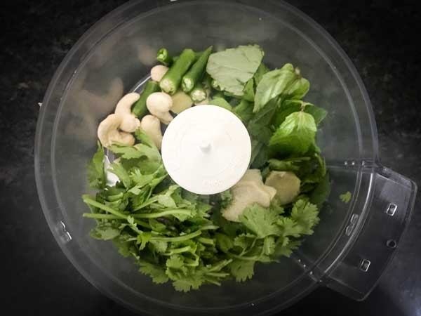 Cashew nuts, coriander leaves, mint leaves chillies, ginger added in blender