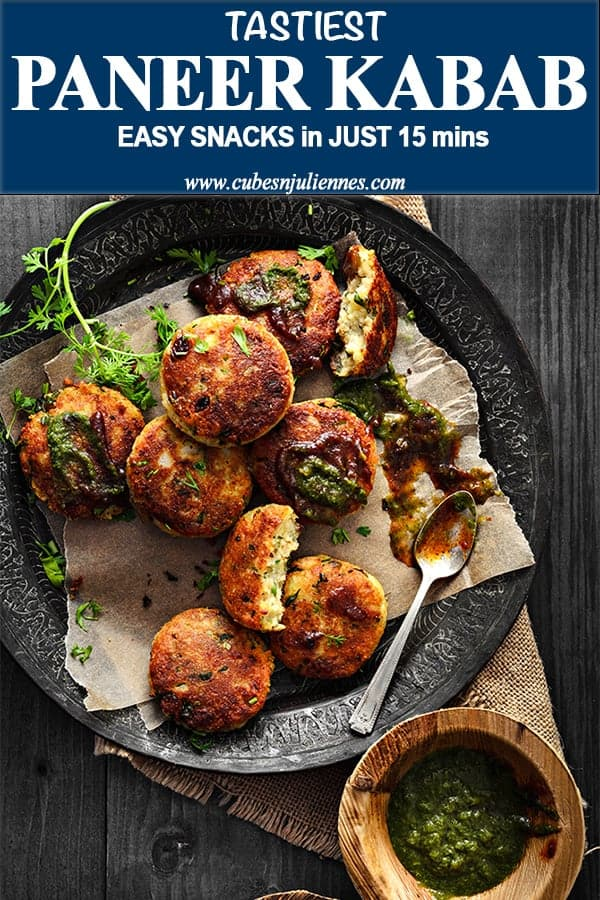 Paneer Kababis a delicious shallow fried crisp yet melt in mouth Indian cottage cheese kababsseasoned with tickling spices and dry fruits.Do you know that it takes flat 15 minutes only to make these paneerkebabs? #starters #snacks #appetiser #Indian #recipe