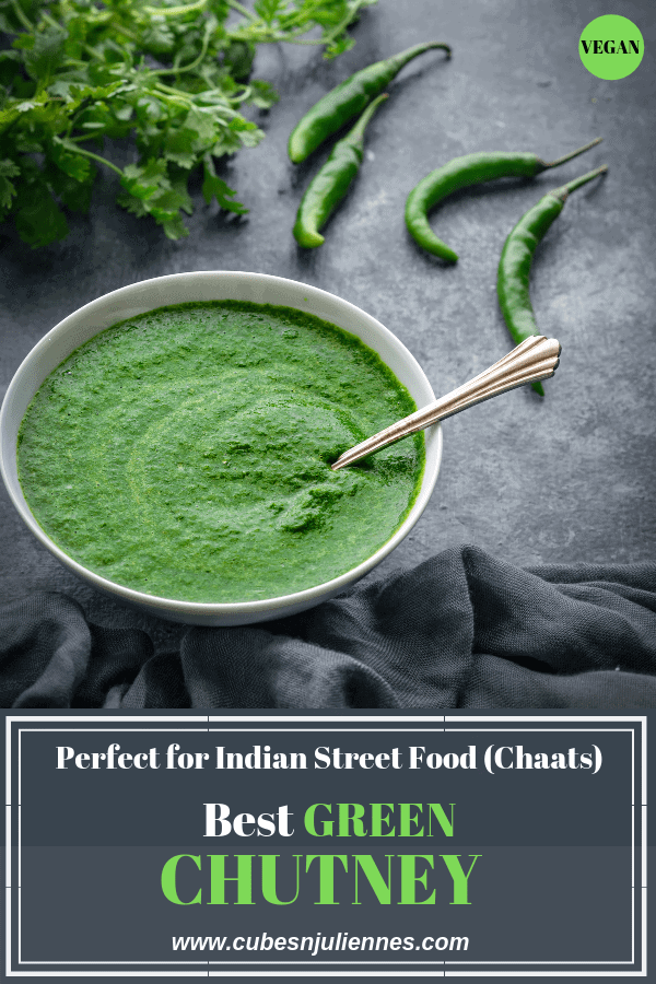 Green chutneyorHari chutneyis a quick spicy accompaniment of green coriander ground along with some spices and seasonings. It is often used in Indian Cuisine, especiallyfor chaatslike pani puri, bhel puri sev puri, for samosa, for sandwiches, kathi rolls, frankie and variety ofIndian snacks. #coriander #dhaniya #chutney #condiment #glutenfree #vegan #howtomake