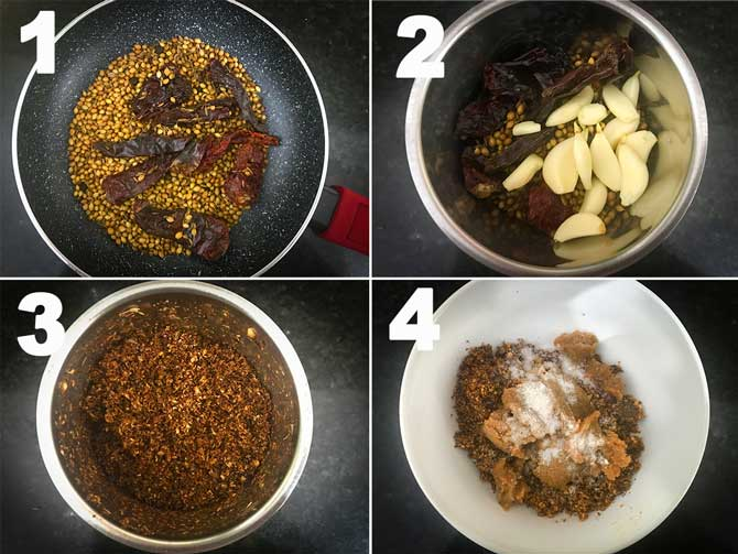 Step by Step collage for the making of stuffing for bharwa mirchi fry recipe