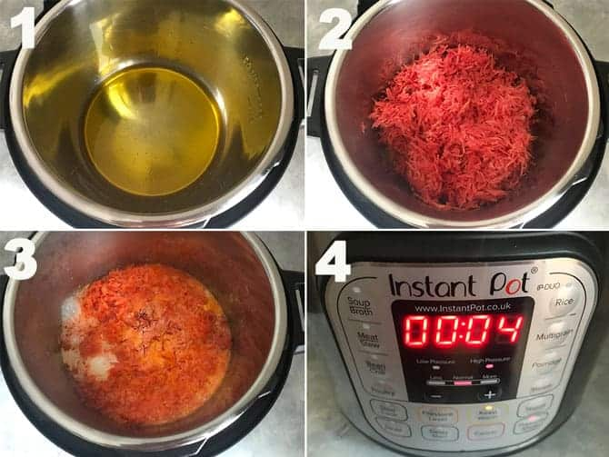 Step by Step Collage for the making of Carrot Halwa in Instant Pot.