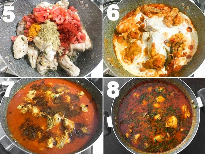 Step by step collage for the making of chicken curry recipe on stovetop