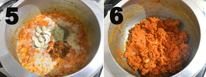 Step by Step picture collage of making carrot halwa in pressure cooker.