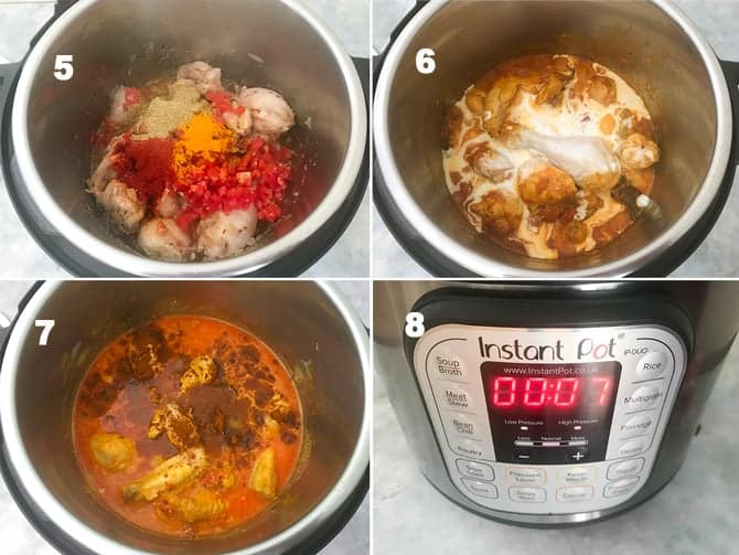 Step by step collage for the making of Instant pot chicken curry recipe