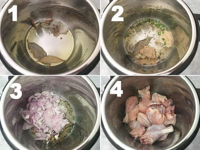 Step by Step collage for the making for Instant Pot Chicken Curry Recipe