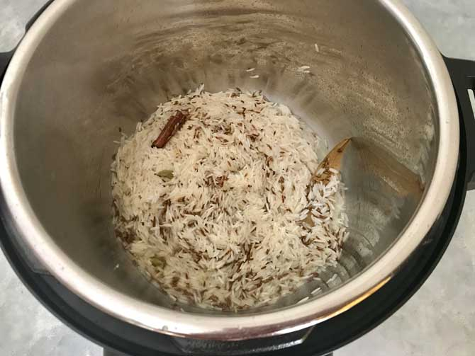 Rice added in the Instant Pot