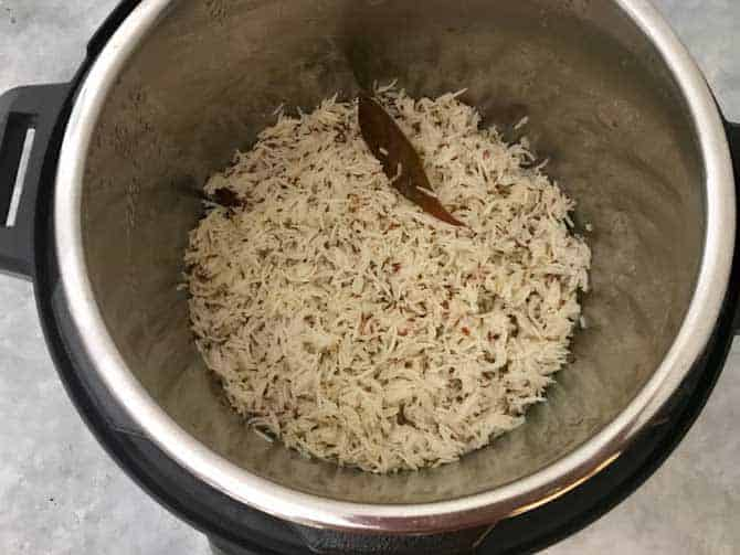 Instant Pot Jeera Rice is ready to serve.