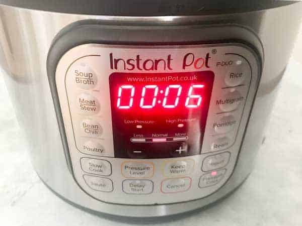 Instant pot timer set to 6 minutes