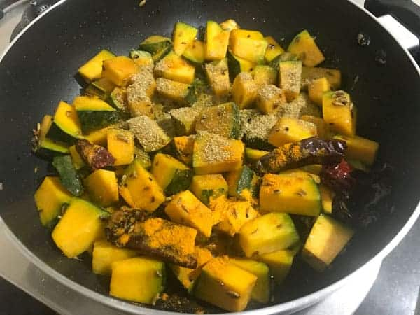 Coriander powder, salt and turmeric powder added in pan