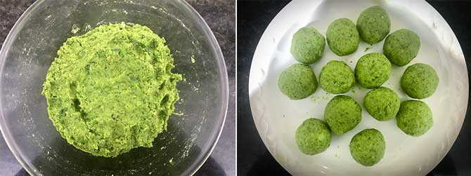 Matar mixture divided into small balls to make matar paratha recipe